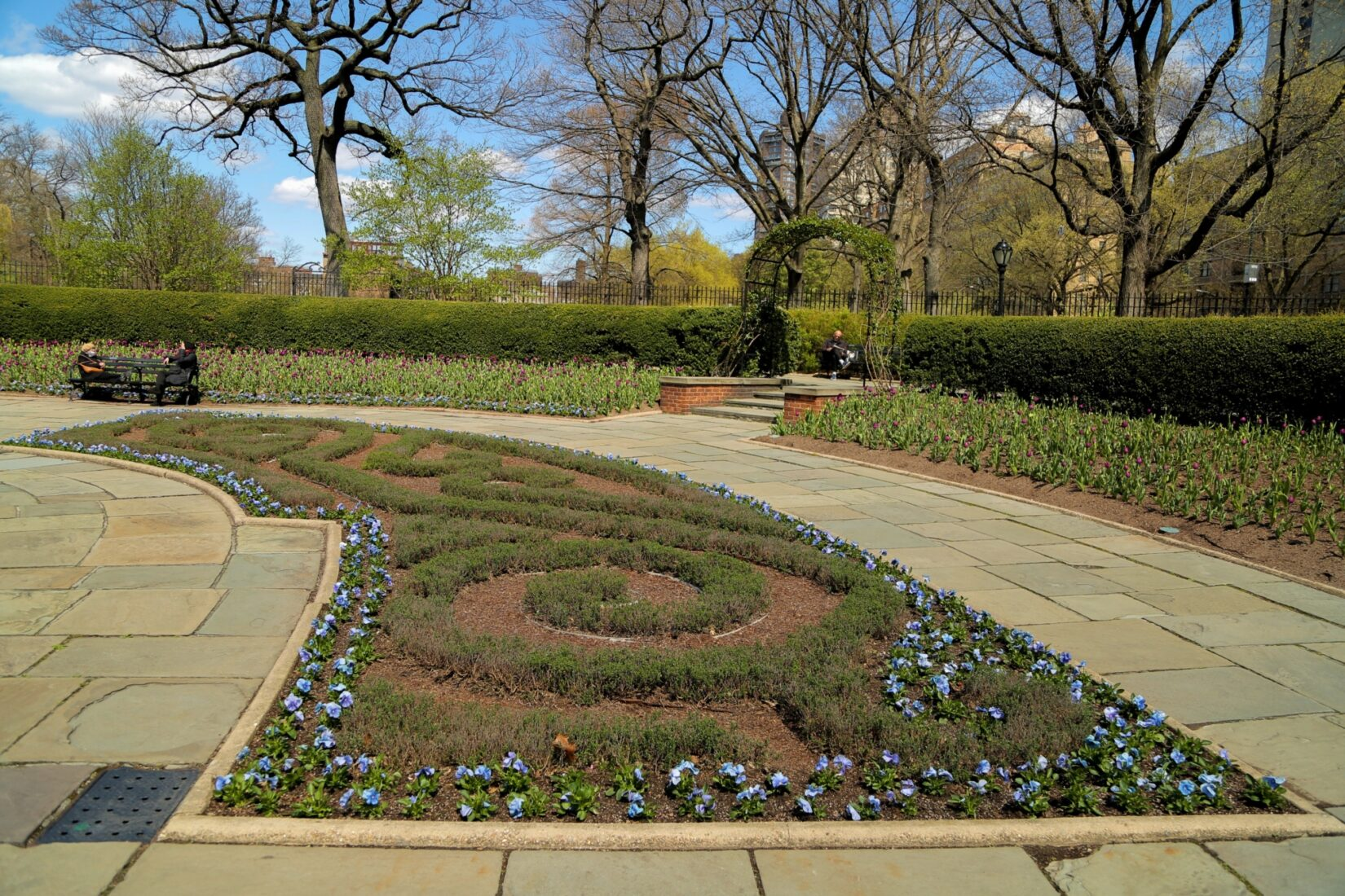 A manicured flower bed in early spring