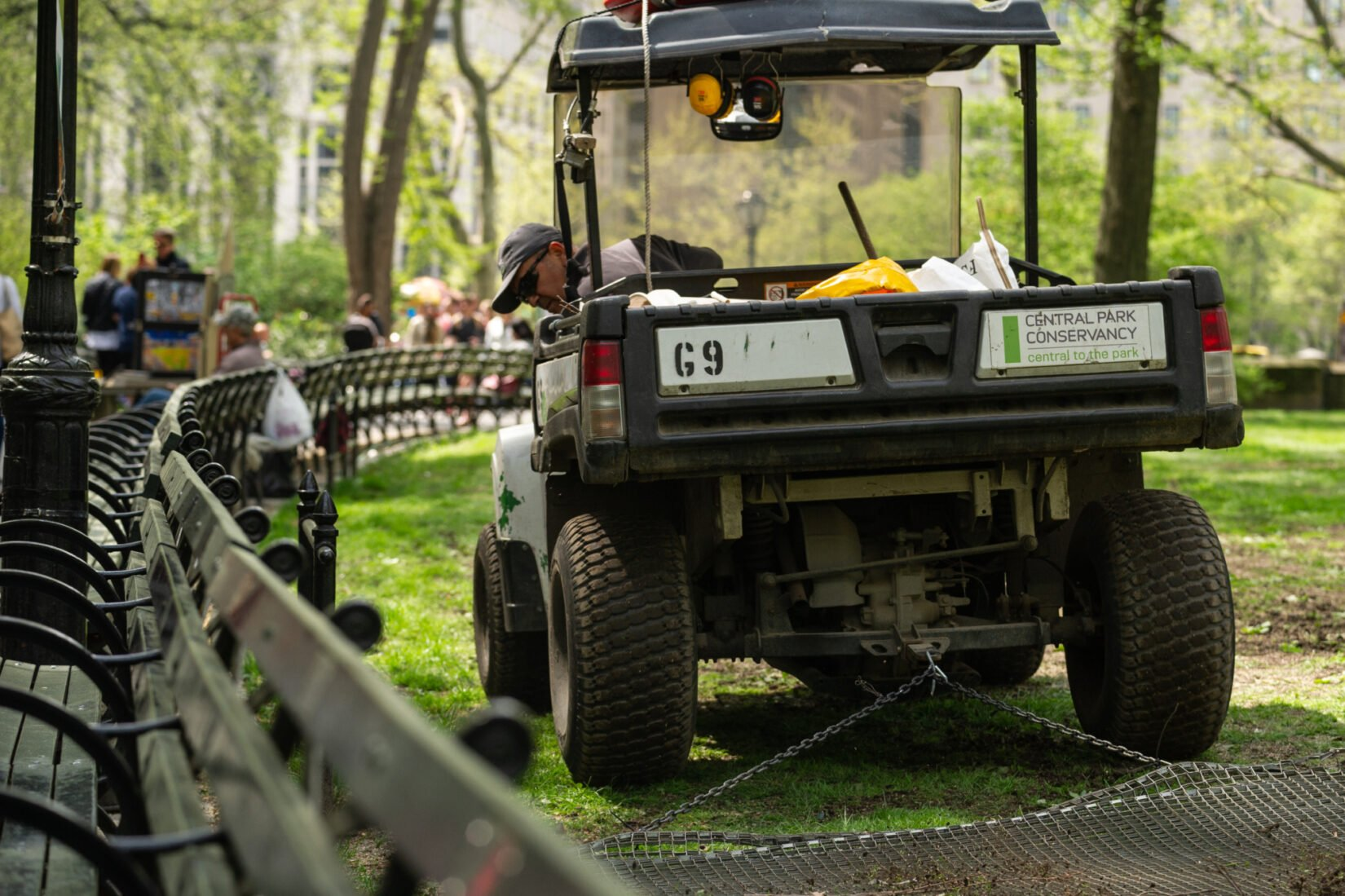 A Conservancy staff member peers out of an electric utility vehicle at a curving row of park benches.
