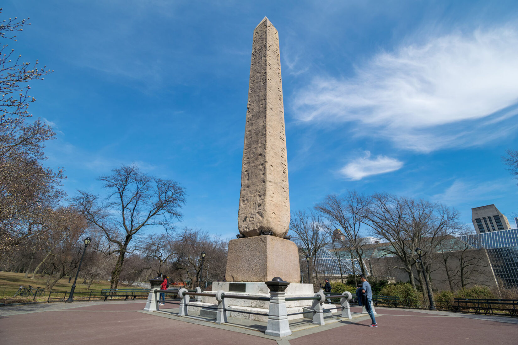 The Obelisk, also known as Cleopatra's Needle, seen under a clear sky in spring