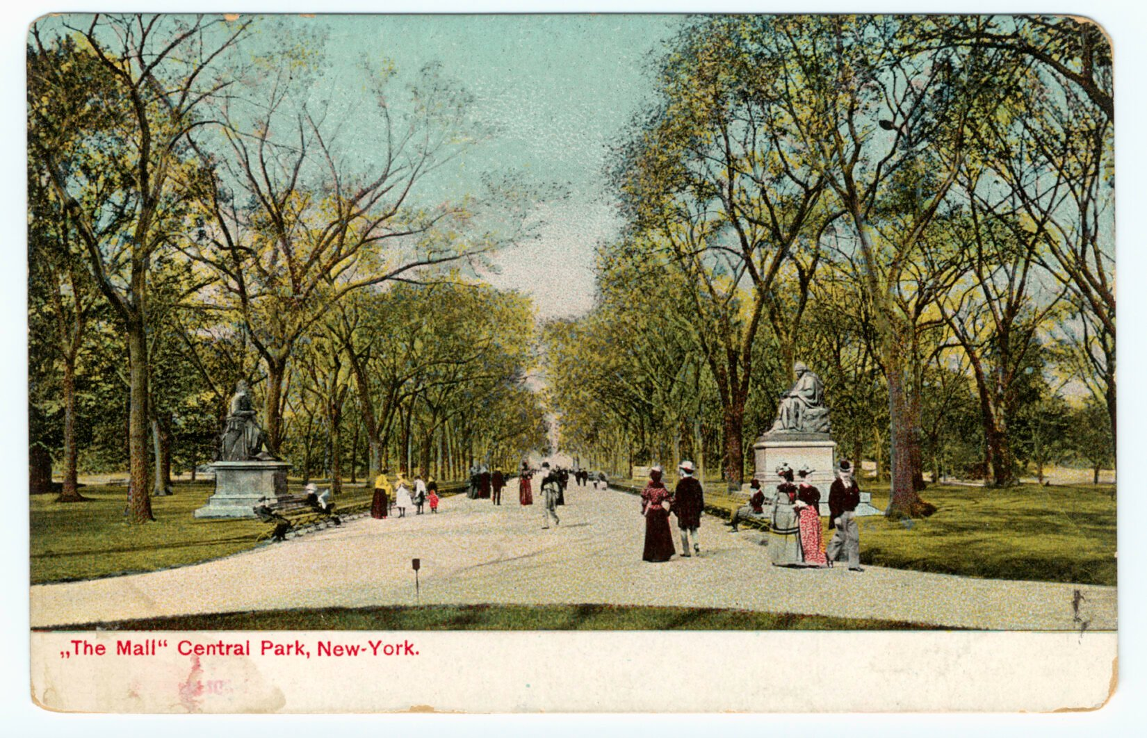 Colorized postcard from the turn of the century looking down the length of the Mall
