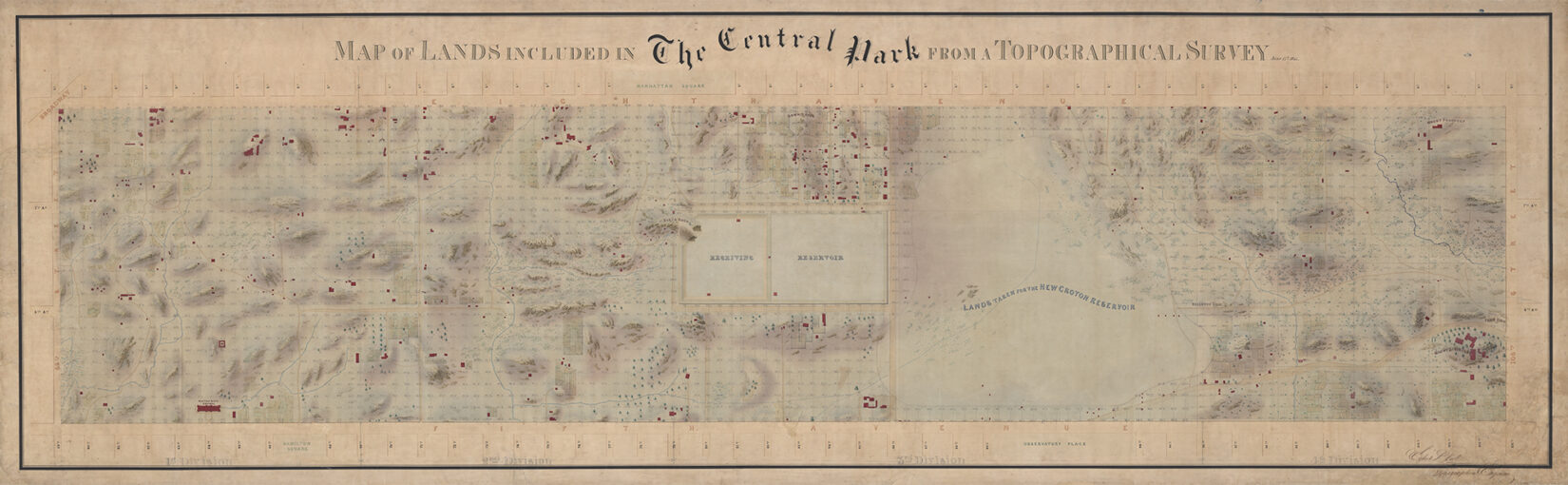 """The map is an engraving from 1855 showing a topographical survey of the land of """"The Central Park"""""""