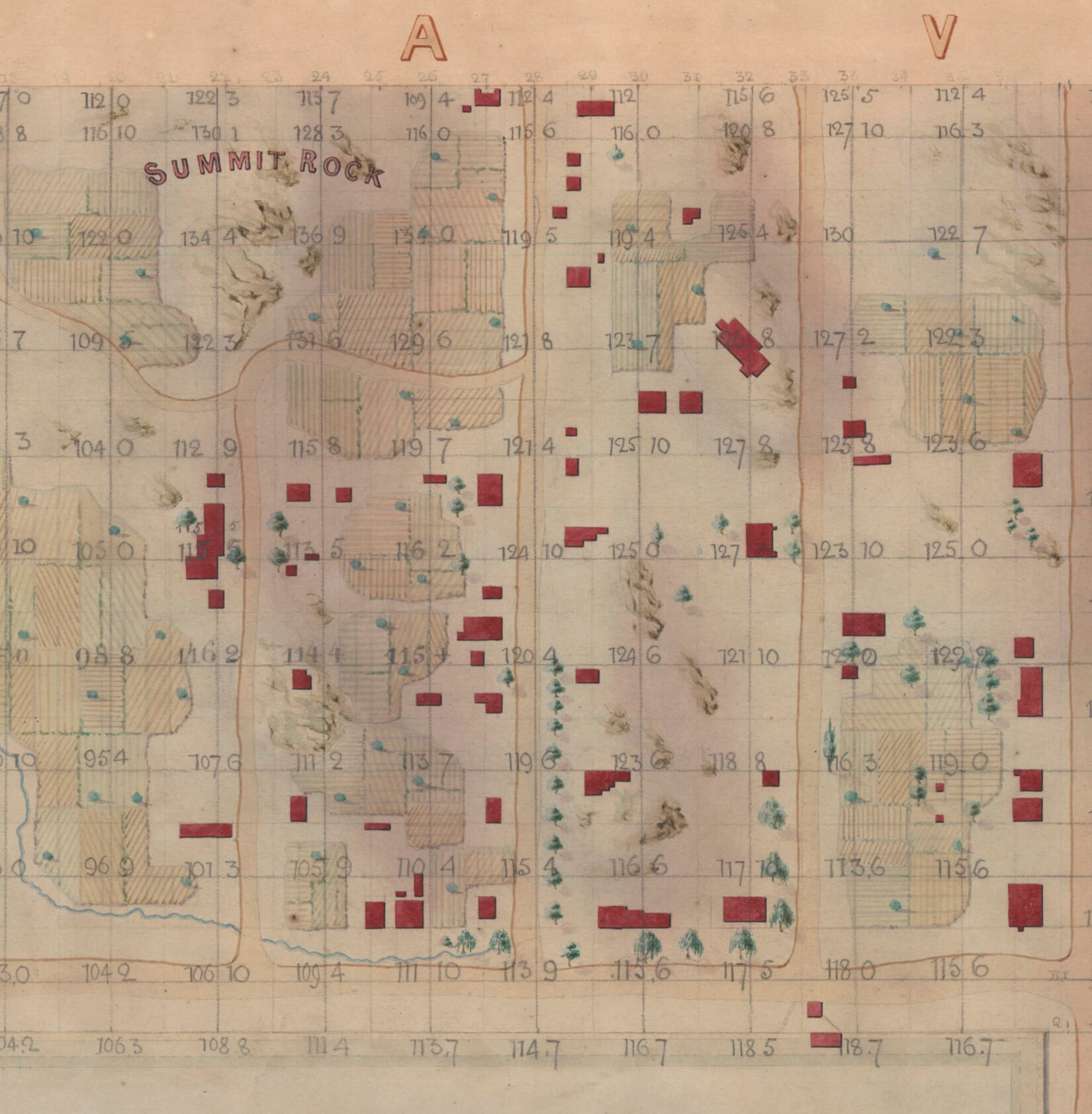The map is an engraving, slightly discolored by age, with homes shown in red