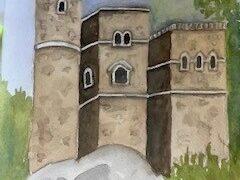 Watercolor rendering of Belvedere Castle