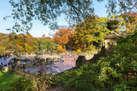 Bethesda Terrace as seen in autumn from the roadway