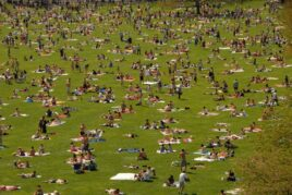 The Sheep Meadow is crowded with sunbathers