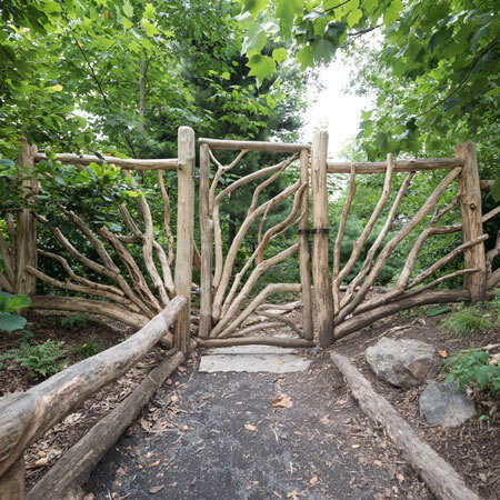 The hand-crafted wooden gate
