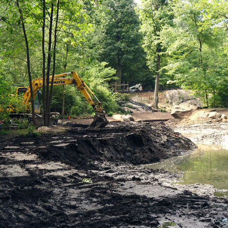 Workers dredging the Ravine