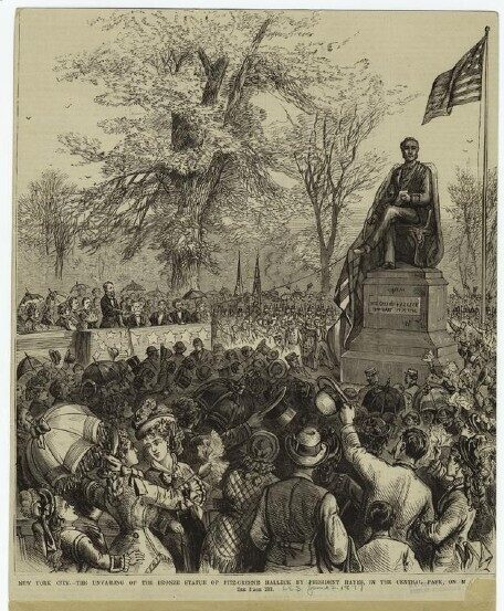 A contemporary engraving depicting the unveiling of the Halleck memorial.