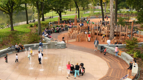 An aerial view of the East 100th Street Playground