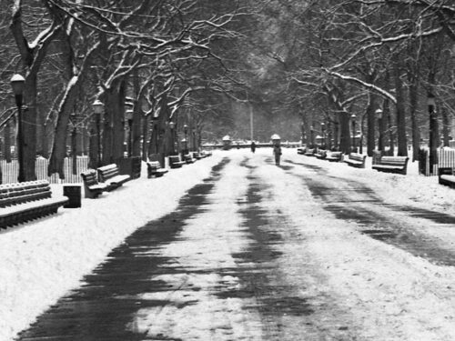 Black-and-white archival image looking down the Mall in winter