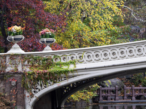 One end of Bow Bridge photographed in Fall