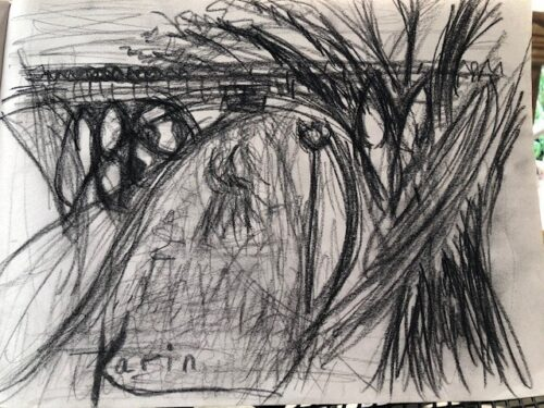Charcoal drawing of Gothic Bridge