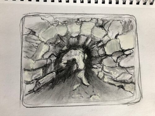 A pencil charcoal drawing of the arch
