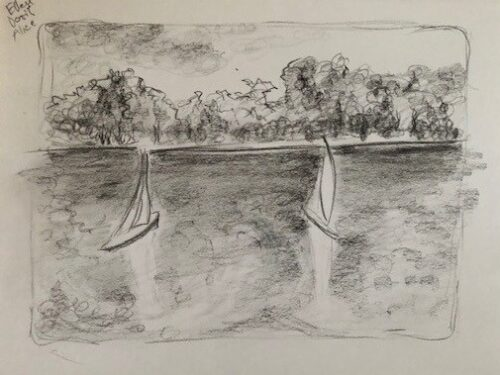 Two model sailboats are pictured on Conservatory Water