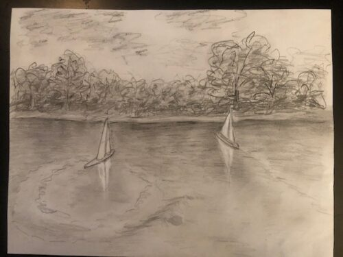 Drawing of Conservatory Water showing two model sailboats