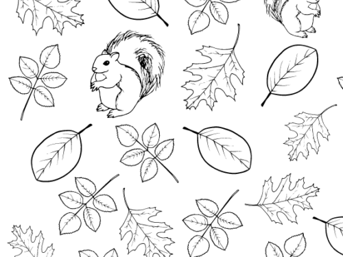 Coloring page featuring squirrels and leaf shapes