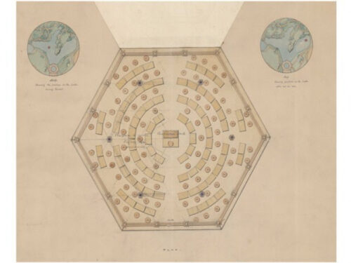 A yellowed schematic for a proposed Central Park feature