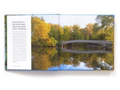 The book open to a two-page spread featuring Bow Bridge