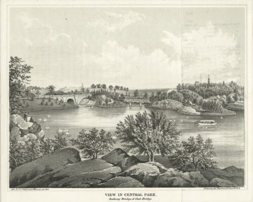 An antique engraving featuring early views of Oak Bridge and Balcony Bridge