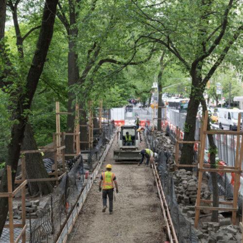 The perimeter under construction