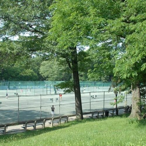 A wide view of the Tennis Center in summer