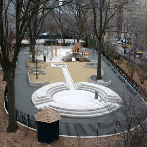 Aerial view of the restored playground