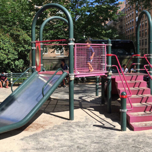 The well-used playground prior to the needed restoration