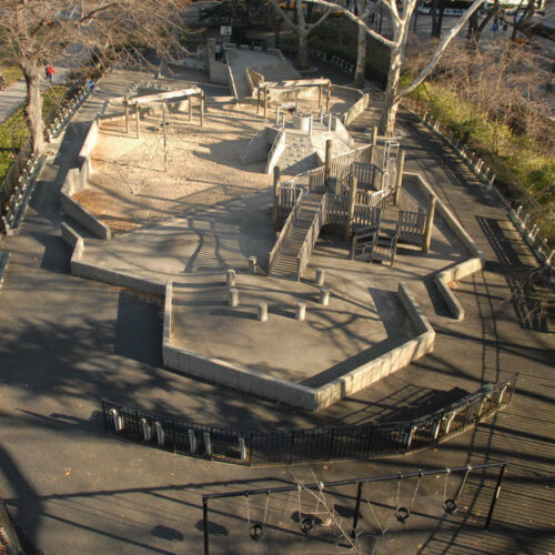 An aerial view of the playground shows the need for reconstruction