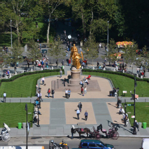 An aerial view of the restored Plaza, highlighting the gold-leafed statue of Sherman