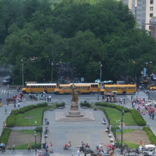 An aerial view of Grand Army Plaza before restoration