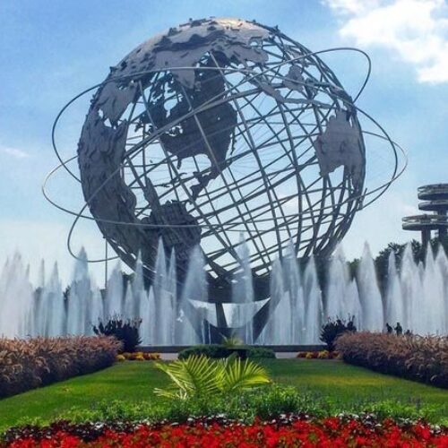 The Unisphere surrounded by fountains