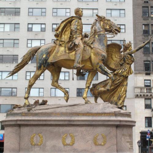 The tarnished Sherman statue before restoration