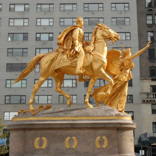 The pristine Sherman statue after renovation