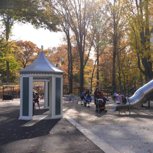 A view of the reconstructed playground