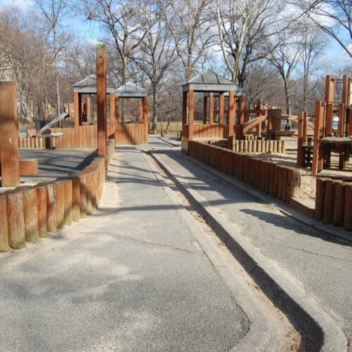 The playground looking tired before reconstruction