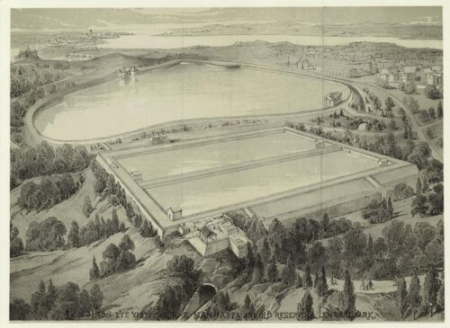 An engraving showing two reservoirs, the southern one occupying what is now the Great Lawn