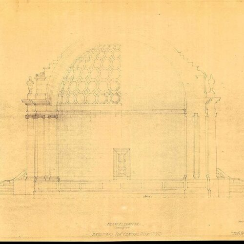 The drawing is yellowed with age and parts of the architectural drawing is faint