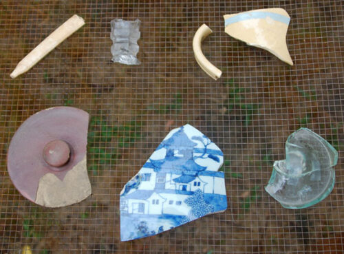 Pottery shards from the excavation