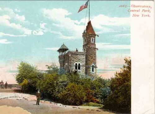 An antique postcard of Belvedere Castle, with a man in a bowler hat in the foreground.