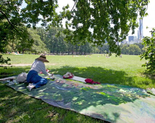 The artist working on a large canvas that's spread on the lawn under the shade of a tree