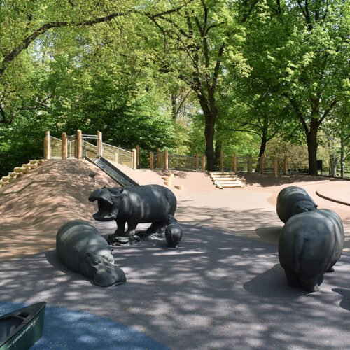 Three of the hippo statues in the playground
