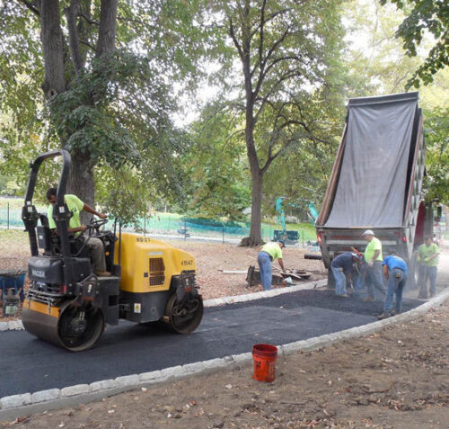 Workers reconstructing the path