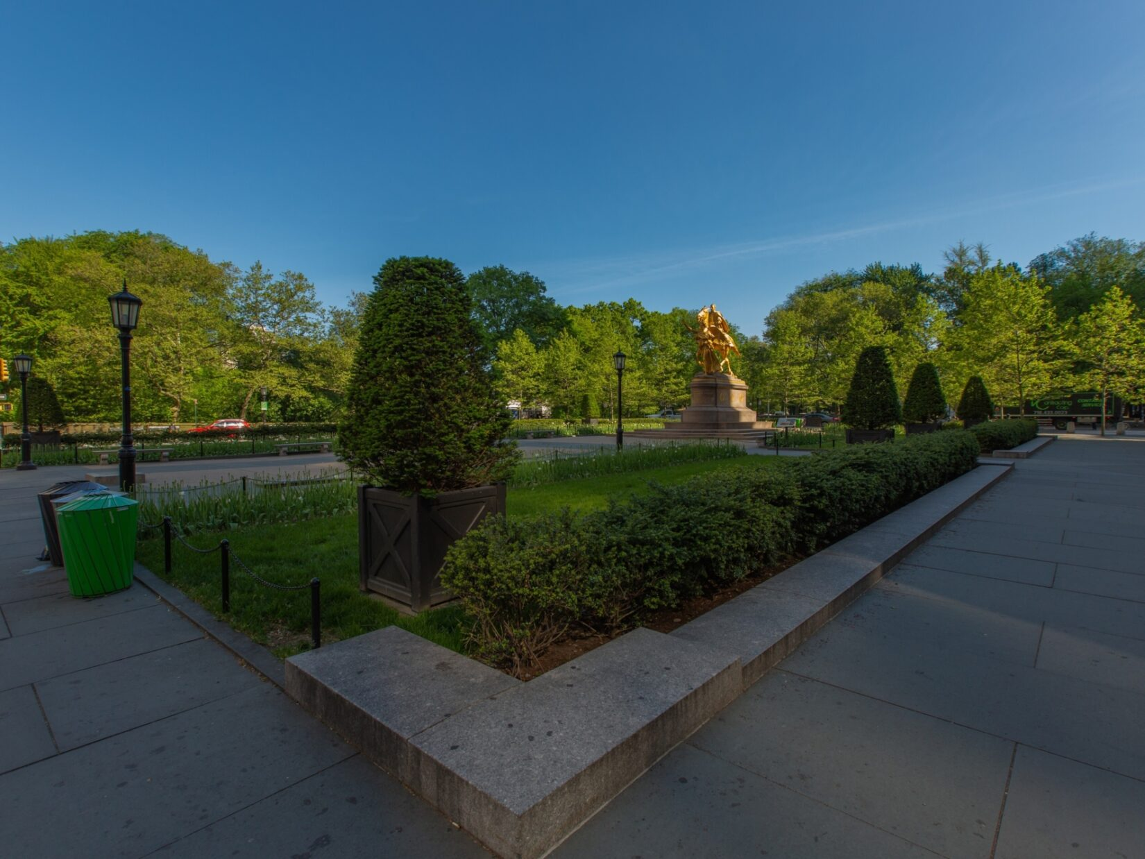 A view of Grand Army Plaza showing the equestrian statue of General Sherman