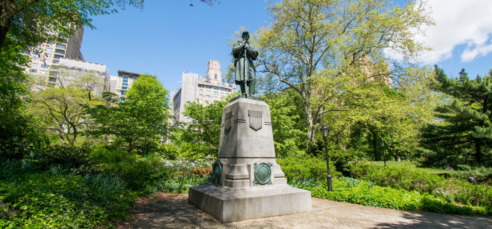 A vew of the 7th Regiment Memorial amid the greenery of early spring