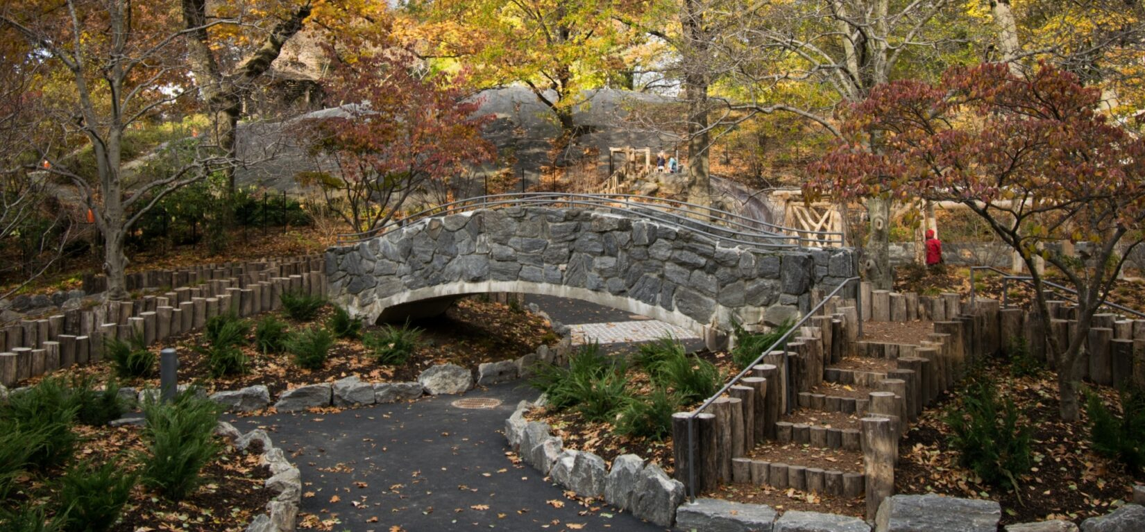 The playground is beautifully integrated into its Park setting
