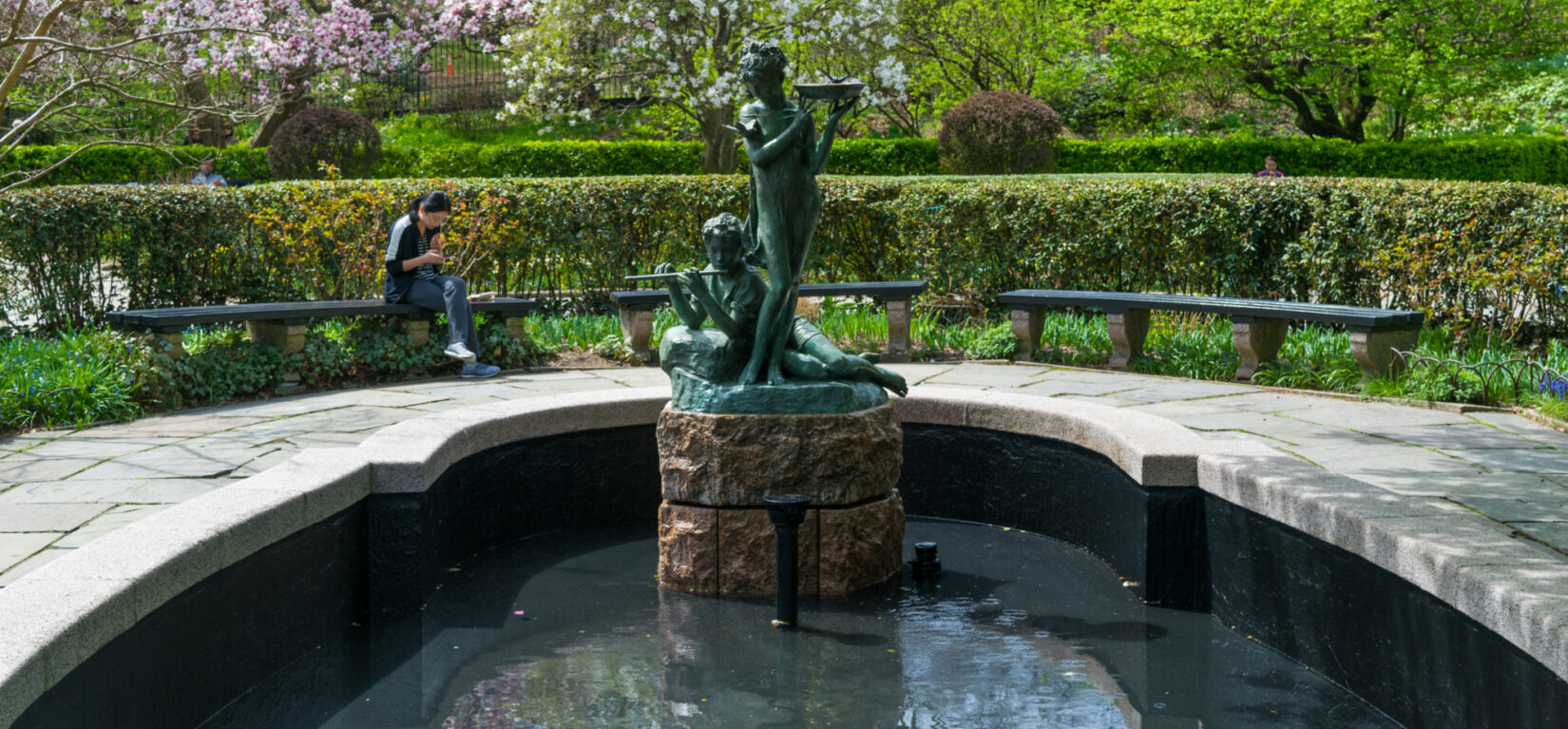 Benches provide a restful view of the fountain