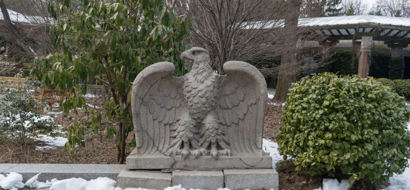 One of 8 eagle statues, pictured in winter