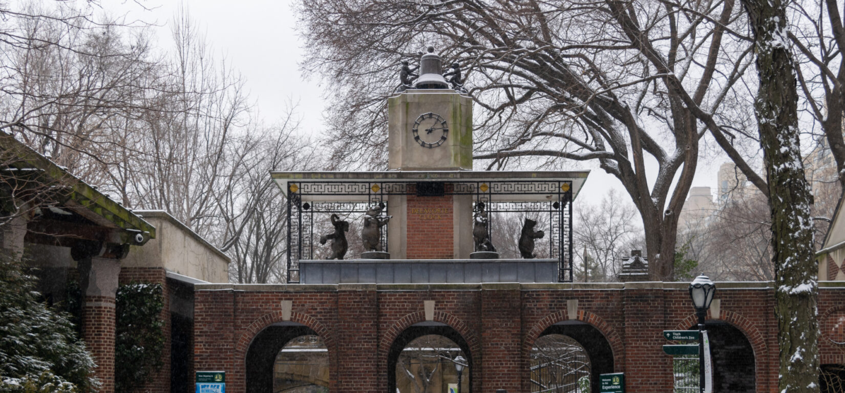 The animals that make up the Delacorte Clock add charm to a winter day