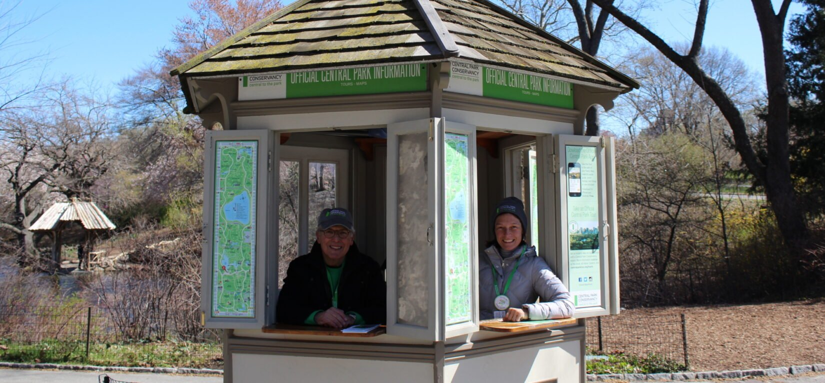 Volunteers are shown manning the 72nd Street Kiosk
