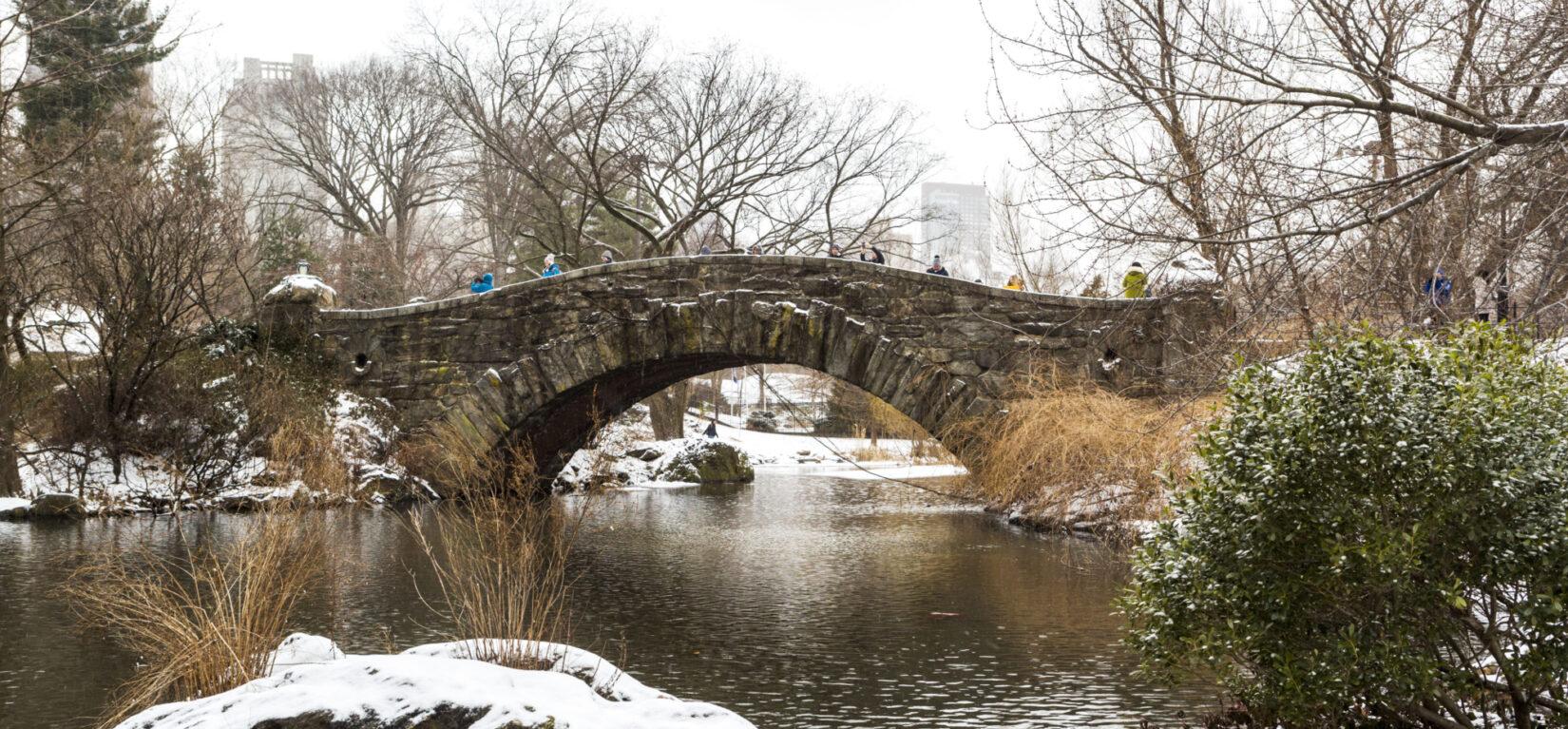 Gapstow Bridge shown in winter spanning the Pond